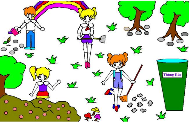 Vẽ tranh đề tài bảo vệ môi trường