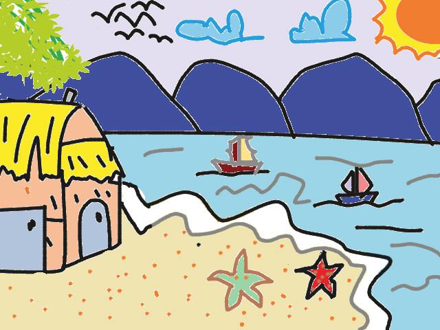 Vẽ tranh ngôi nhà mơ ước của em ở gần biển