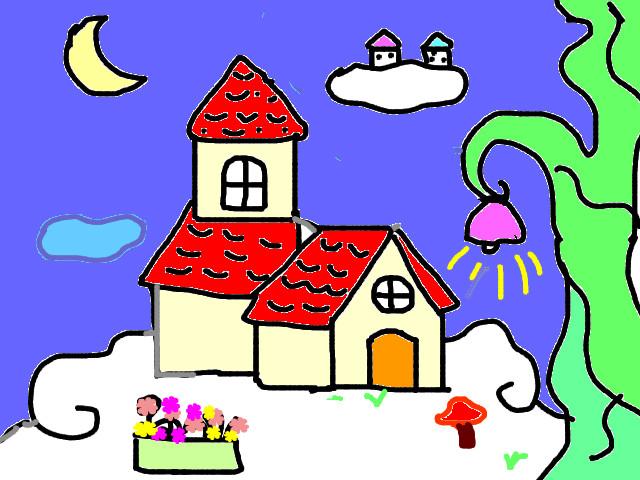 Tranh vẽ ngôi nhà mơ ước ở trên mây