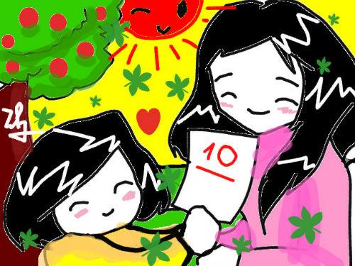 Vẽ tranh đề tài mẹ của em với tựa đề hoa điểm 10 tặng Mẹ