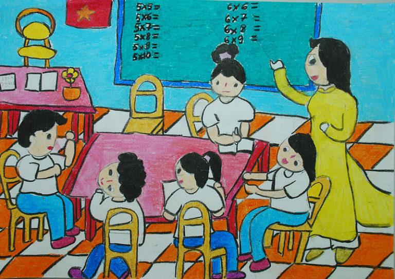 Vẽ tranh về ước mơ của em trở thành cô giáo