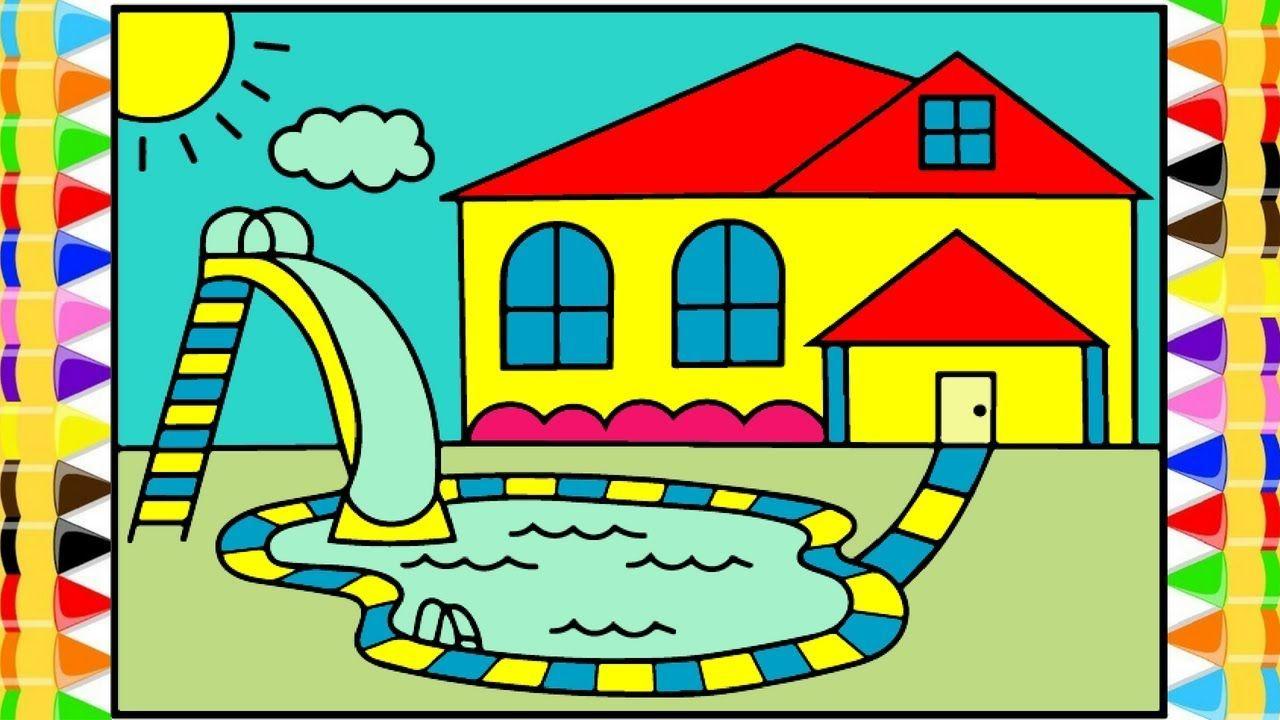 Vẽ tranh ngôi nhà mơ ước có bể bơi
