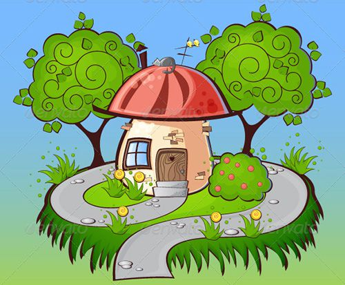 Tranh vẽ về ngôi nhà mơ ước của em trong rừng