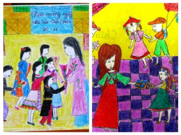 vẽ tranh đề tài 20-11 đơn giản