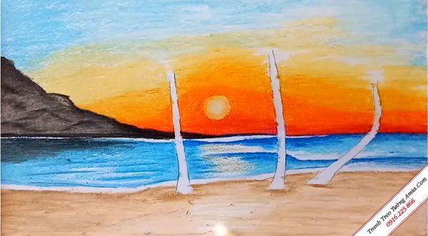 vẽ tranh phong cảnh biển đơn giản mà đẹp