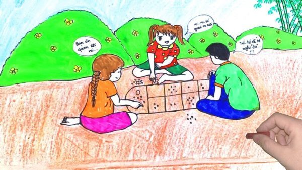 vẽ tranh trò chơi dân gian