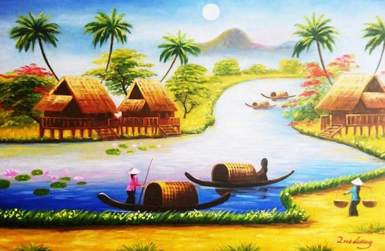 Gợi ý vẽ tranh phong cảnh quê hương em đơn giản nhất